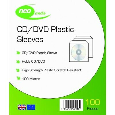 100 NEO High Quality 100 Micron Clear Plastic CD DVD Sleeves Side STITCH  • 3.99£