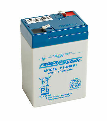 Power Sonic PS640 6V 4.5AH (4AH) Non-Spillable Sealed Rechargeable Battery • 9.99£