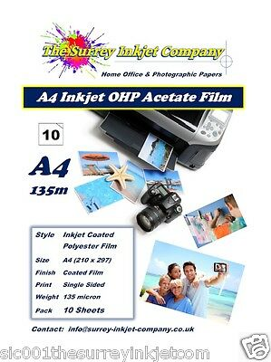 A4 Inkjet Transparency OHP Acetate Film 135 Micron 10 SHEETS Instant Dry Film • 5.94£