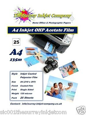 A4 Inkjet Transparency OHP Acetate Film 135 Micron 25 SHEETS Instant Dry Film • 9.89£