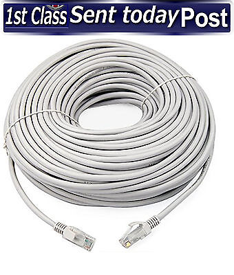 20m Meter RJ45 Cat5e Network LAN Cable UTP Ethernet Patch Lead WHITE Fast Cat 5e • 6.95£