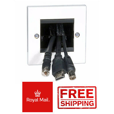 White Single Gang Brush Wallplate / Wall Plate With Black Brushes For TV Cables • 2.44£