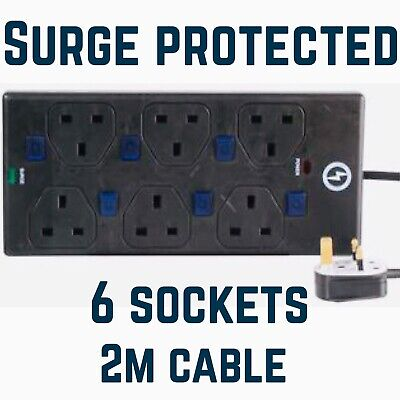 6 WAY 2m SURGE PROTECTED & BLUE NEON SWITCHED Extension Lead - Black Protector • 14.95£