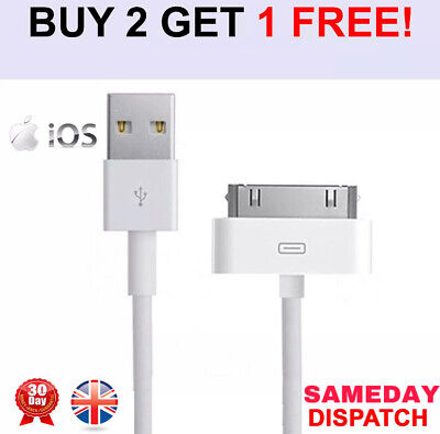 Genuine Charging Cable Charger Lead For Apple IPod,iPad2&1 IPhone 4,4S,3GS OEM • 1.90£