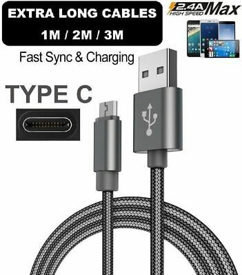 Long 2M/3M USB Type C 3.1 Fast Data Charger Cable Lead For Samsung Galaxy S8 S8+ • 3.79£