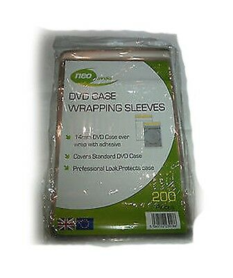 Neo Serena Clear 14mm DVD Case Wrapping Sleeve Wraps - 200 PACK • 4.15£