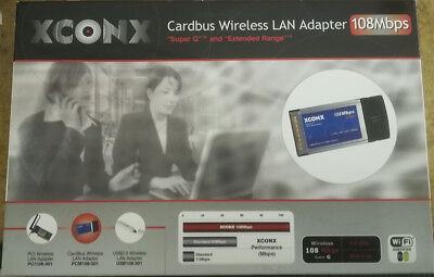 Xconx Cardbus Wireless Lan PCMCIA Adapter Laptop Notebook 108 Mbps Super G • 8.99£