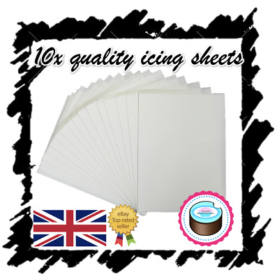 X10 Edible Icing Sheets For Printing, Decor Quality Plain Blank, A4 Icing Paper! • 9.49£