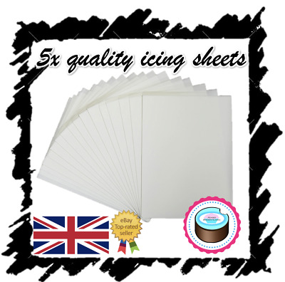 X5 Edible Icing Sheets For Printing, Decor Quality Plain Blank, A4 Icing Paper! • 5.99£