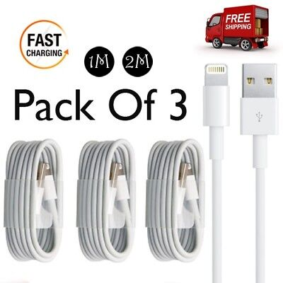 3x Extra Long 1M 2M USB Data Cable Sync Charger For Apple IPhone 5s 6 7 8 Plus   • 5.99£