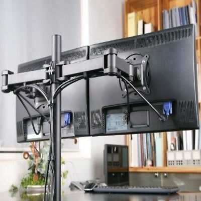 "Double Twin Arm Desk Mount Bracket LCD Computer Monitor Stand 10""-27"" Screen TV • 17.99£"