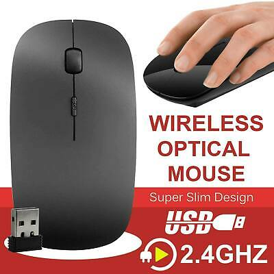 Black 2.4 GHz Wireless Cordless Mouse USB Optical Scroll For PC Laptop Computer • 3.99£