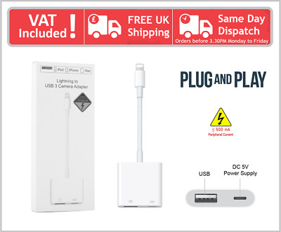 Compatible For Apple IPhone IPad Lightning To USB 3 Camera Reader Adapter Cable • 4.99£
