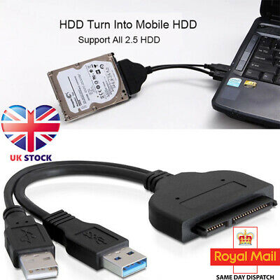 USB 3.0 To Connect SATA 2.5'' Laptop Hard Disk Drive SSD HDD Adapter Cables Line • 4.99£