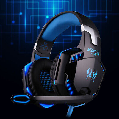 3.5mm Gaming Headset MIC LED Headphones Blue G2000B For Laptop PS4  One 360E • 23.99£