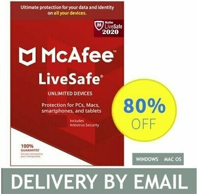 McAfee LiveSafe 2020 Unlimited Antivirus 2 Year- Email Delivery Download  • 11.99£