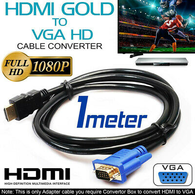 1m HDMI To VGA Cable D-SUB HD-15 Video Adapter Cables For PC Monitor Game HDTV N • 4.46£