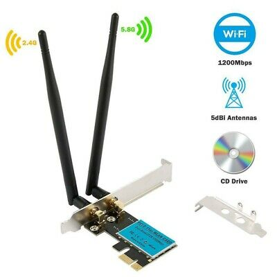 1200Mbps Wireless WiFi Card Dual Band PCI-E Network Adapter 2.4G/5G For Computer • 14.19£