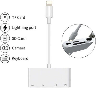 4in1 8Pin To USB Camera Memory Micro SD Card Reader Adapter For IPhone IPad • 9.59£