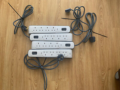 4 X BELKIN BSV400af2m 4 WAY SURGE PROTECTION EXTENION LEADS , 2 M • 24.99£