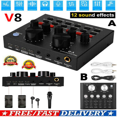 V8 Audio USB Headset Microphone Webcast Live Sound Card External For Phone PC • 15.19£