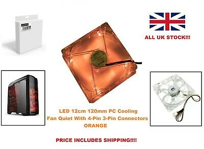 LED 12cm 120mm PC Cooling Fan Quiet With 4-Pin 3-Pin Connectors ORANGE UK • 3.10£