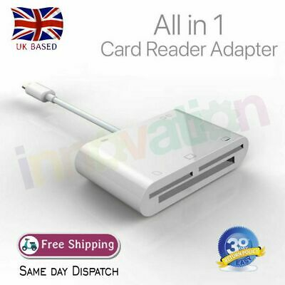 5in1 8Pin To SD CF TF XD M2 Card Camera Adapter Reader For IOS12 IPhone IPad • 12.90£