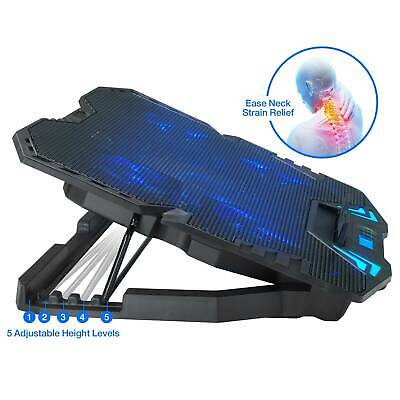 For Gaming Laptop Cooler Notebook Cooling Pad Adjustable Stand 5 Fans Portable • 25.26£