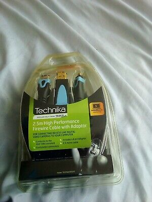 NEW TECHNIKA  2.5m  HIGH PERFORMANCE FIREWIRE CABLE WITH ADAPTOR • 5£