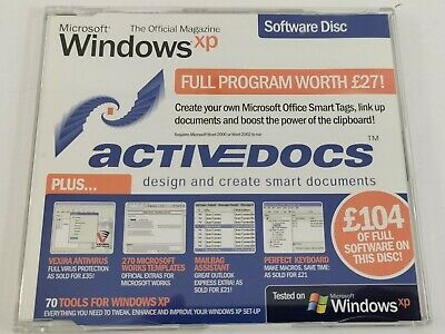Official 2002 Microsoft Windows XP Software Disk Active Docs Tools + Much More • 3.99£