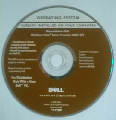 Dell Windows Vista Reinstallation Disc Only. 32BIT SP1. • 2.99£