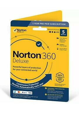 Norton 360 Deluxe 2020 5 Devices 5 PC 1 Year Secure VPN Internet Security 2020 • 14.40£