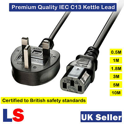 3 Pin Kettle Lead Power Cable IEC C13 Kettle Mains Power Cord For PC Monitor TV • 4.96£