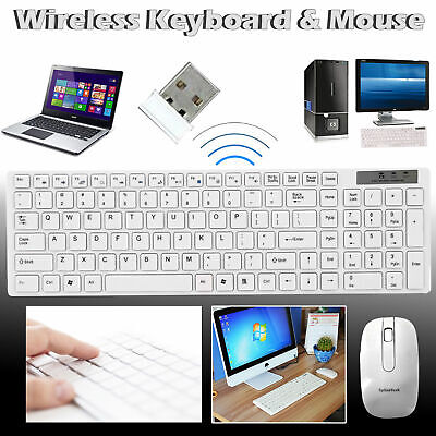 2.4GHZ USB Wireless Slim Keyboard For PC Laptop And Cordless Mouse Combo Kit Set • 11.95£