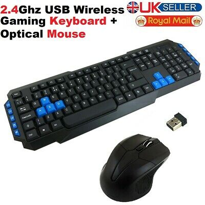 Slim 2.4GHZ Wireless Keyboard And Cordless Optical Mouse Combo For PC Laptop • 11.95£