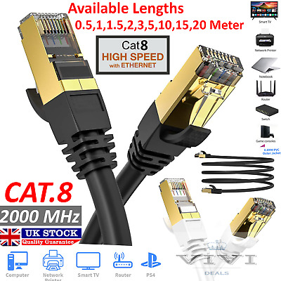 RJ45 Cat8 Ethernet Cable Network Gold Ultra-thin 40Gbps SSTP Patch LAN Lead Lot • 7.95£