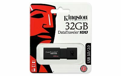 Kingston DataTraveler100 G3 32GB USB 3.0 Flash Stick Pen Memory Drive - Black  • 3.98£