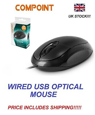 Wired Usb Optical Mouse For Pc Laptop Computer Scroll Wheel - Black Uk • 3.99£