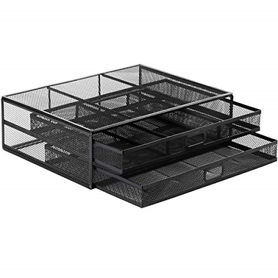 HUANUO Monitor Stand With 2 Storage Drawers - Metal Mesh Desk Organisers, PC, Up • 24.86£