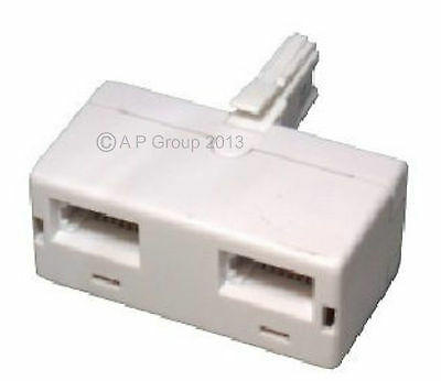 BT Double Twin Telephone Phone Socket 2 Way Adaptor  Male To Two Female Sockets • 2.49£