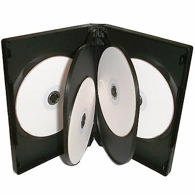 100 X CD DVD 22mm Black DVD 6 Way Case For 6 Disc - Pack Of 100 • 44.66£