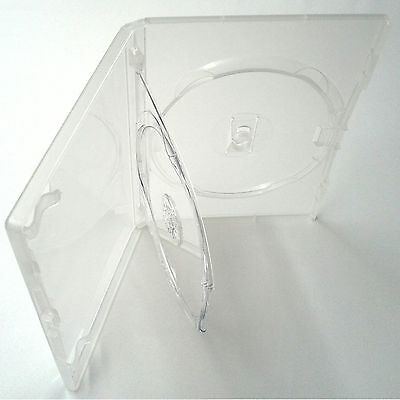 100 X Genuine Amaray Triple DVD Clear Case Double Tray 14mm Spine - Pack Of 100 • 48.05£