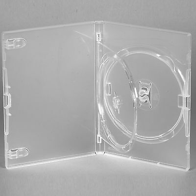 5 X Genuine Amaray Double DVD Clear Case With Single Tray 14mm Spine - Pack Of 5 • 6.55£