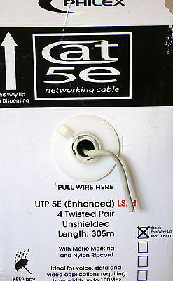 305m Philex CAT5e SOLID COPPER Data Network UTP Cable LSZH 4 Twisted Pair 24AWG • 48.95£