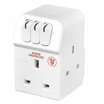 Masterplug MSWRG3-MP 13 A 3-Socket Indoor Power Surge Protected Adapter - White • 10.79£