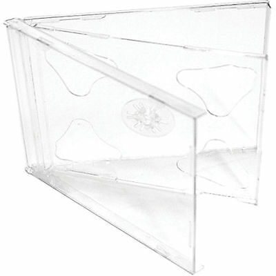 200 X CD / DVD Double Jewel Cases 10.4mm For 2 Disc With Clear Tray Pack Of 200 • 47.87£