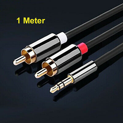 1 Meter Stereo 3.5mm Jack Plug To TWIN 2 X RCA PHONO Audio Lead GOLD CABLE Male • 3.99£