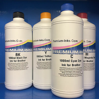 4 Litre Printer Ink Bottles Fits BROTHER To Refill Refillable Cartridges & CISS  • 49.99£