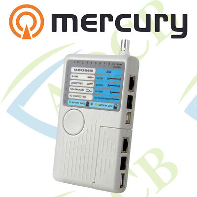 MERCURY 4-in-1 REMOTE CABLE TESTER NETWORK • 31.49£