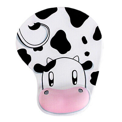 Anti-Slip Cow-patterned Mouse Mat With Gel Wrist Support For PC Macbook Laptop • 3.99£